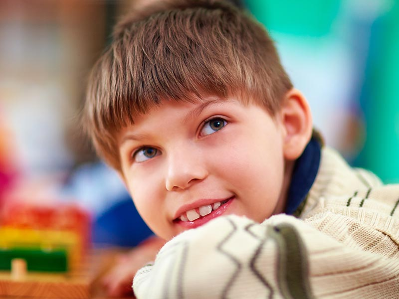 a student smiling